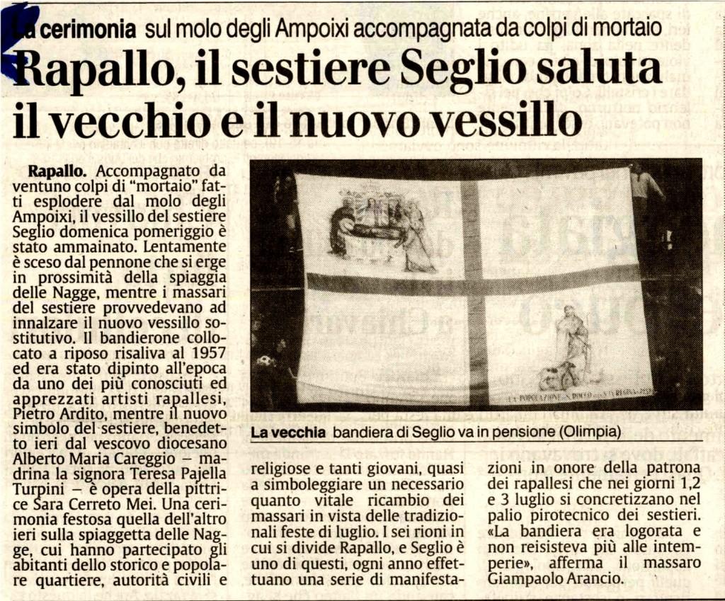Rapallo, il Sestiere Seglio saluta il vecchio e il nuovo vessillo