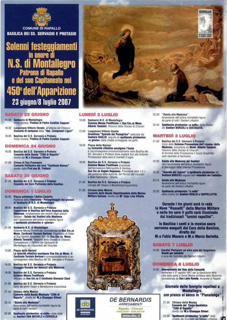 2007 - Programma Feste di Luglio in occasione del 450° anniversario dell'Apparizione di N.S. di Montallegro