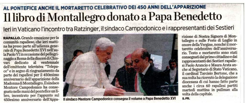 Il libro di Montallegro donato a Papa Benedetto