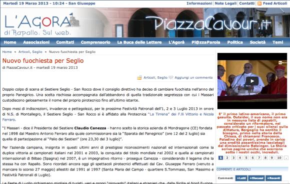 Nuovo fuochista per il Sestiere Seglio - Piazza Cavour - 19-03-2013