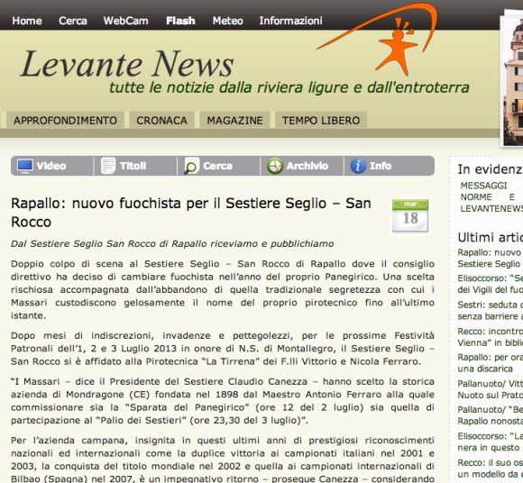 Nuovo fuochista per il Sestiere Seglio - San Rocco - LevanteNews - 18-03-2013
