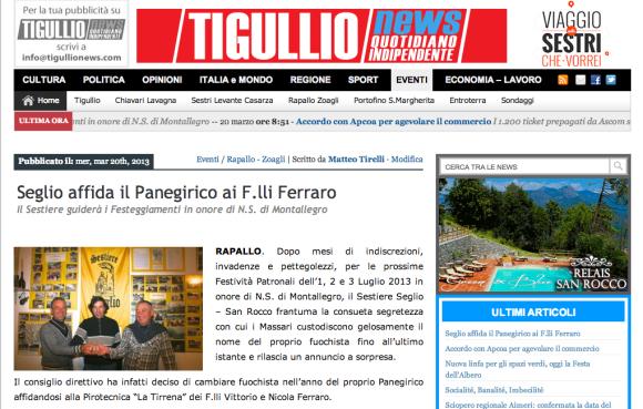 Seglio affida il Panegirico ai Flli Ferraro - Tigullio News - 20-03-2013