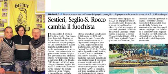 Sestieri Seglio cambia fuochista - Il Corriere Mercantile 20-03-2013
