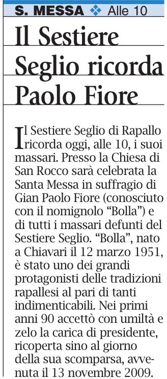 Il Sestire Seglio ricorda Paolo Fioro da Il Corriere Merdantile - 17-11-2013