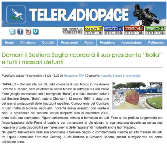 """Domani il Sestiere Seglio ricorderà il suo presidente """"Bolla"""" e tutti i massari defunti - Teleradiopace 2013/11/16. La notizia è stata trasmessa anche all'interno del Tg"""