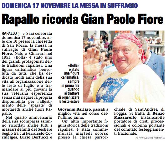 Rapallo ricorda Gian Paolo Fiore - Il Nuovo Levante 15/11/2013